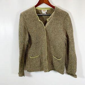Talbots L Cardigan Snap Front Wool Angora Blend Gr